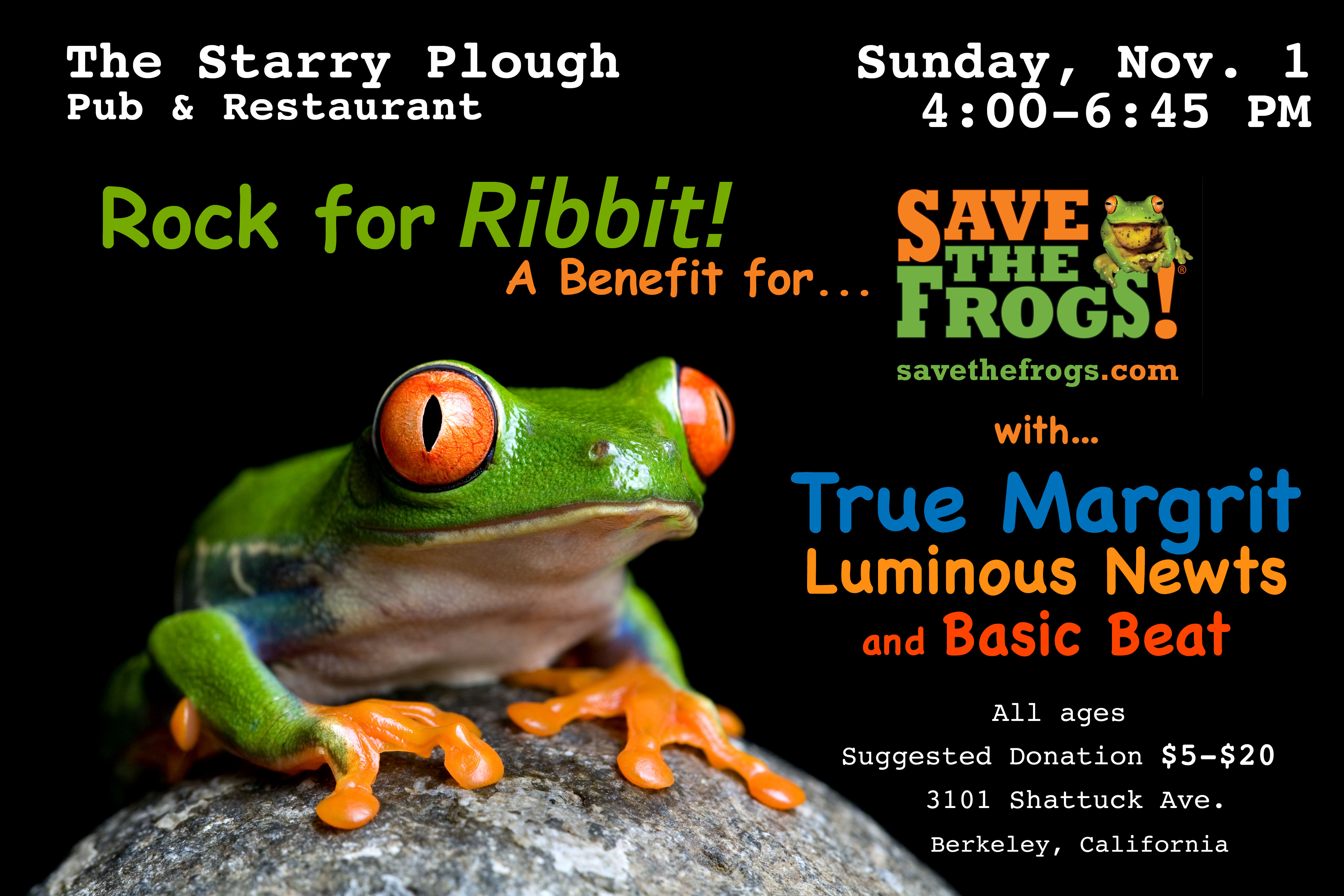 ROCK FOR RIBBIT! A Benefit for SAVE THE FROGS!